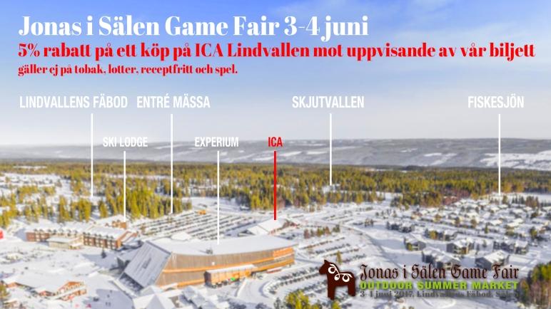 mässrabatt, ICA Lindvallen, Jonas i Sälen Game Fair, Outdoor, jaktmässa, fiskemässa, Karelius, ICA, Sälen, mässa sälen, rabatt mässa, biljett mässa